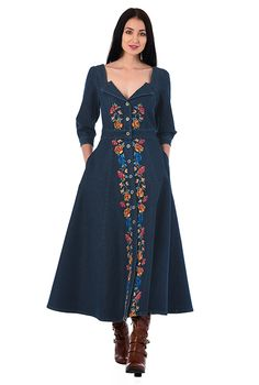Pretty embellished florals romance our deep indigo denim shirtdress in a flirty fit-and-flare silhouette accented with a notch collar at the low sweetheart neckline. Denim Kurti, Black Kurti, Denim Shirt Dress, Shirtdress, New Wardrobe, Black Denim, Summer Collection, Fit And Flare, Dresses Online