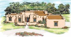 Adobe House Plan with 2982 Square Feet and 4 Bedrooms from Dream Home Source | House Plan Code DHSW37569