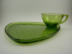 Vintage Green Glass Snack Tray and Teacup Daisy by AllycatAttic