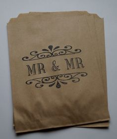 50 Brown Kraft retro Gay/Civil Partnership, Mr & Mr candy buffet bags, wedding cake bags,candy station bags, favor bags