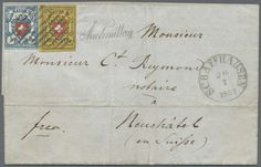 """Switzerland, Michel 8, 9 Var. (Zu. 17II.1.03, 16II.2.32+1.02) - 1851, cover from Benken by Schaffhausen to Neuch tel with very scarce franking 5 Rp. (type 10, brick B2-LU) with approximate 9-10 / 12 the framed cross as well 10 Rp. (T. 33 B-LO) with part the red locating line left at the bottom, tied by black lozenge, beside single line cancel """"afternoon"""" and single circle postmark from Schaffhausen (20. 7. 51)... Dealer Gärtner Christoph Auktionshaus Auction Starting Price: 1000.00 EUR"""