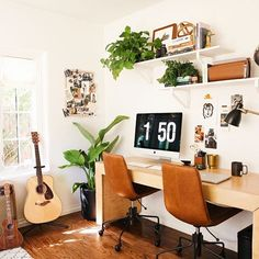 @newdarlings double office space is a hipster's paradise. That custom desk is such a showstopper. I love the warmth of this space who doesn't love a cozy office to work in hmmm? Would you like to see how we'd take it on? Vote now! #CopyCatChic