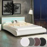 Miadomodo - Cadre de lit en simili cuir avec sommier à lattes et éclairage LED - Beige - 180 x 200 cm - COLORIS ET TAILLE AU CHOIX