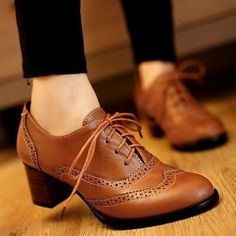 Top Womens Brogue Lace Up Low Thick Heel Oxfords Retro Boat Shoes US Size 5-11 in Clothing, Shoes & Accessories, Women's Shoes, Flats & Oxfords | eBay