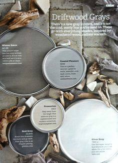 Coastal Pleasure looks great as long as it's not too blue - Driftwood Grays +The Top 30 Paint Colors - Better Homes And Gardens Featured Paint Shades Neutral Paint Colors, Gray Accent Colors, Rustic Paint Colors, Grey Wall Color, Pastel Colours, Navy Color, Soft Colors, Paint Shades, The Design Files