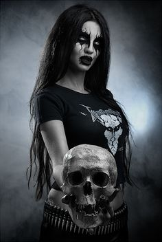 Black Metal. Venom. beautiful hair and makeup
