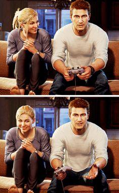 Elena and Nate playing Crash Bandicoot.