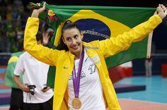 2012 Sheila atleta do vôlei durante a comemoração da medalha de ouro nos Jogos de Londres em 11 de agosto de 2012 Prêmio Brasil Olímpico