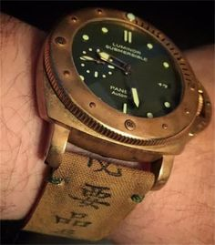 Japanese Canvas Strap + minimal Olive green stitching for Panerai bronze PAM 382