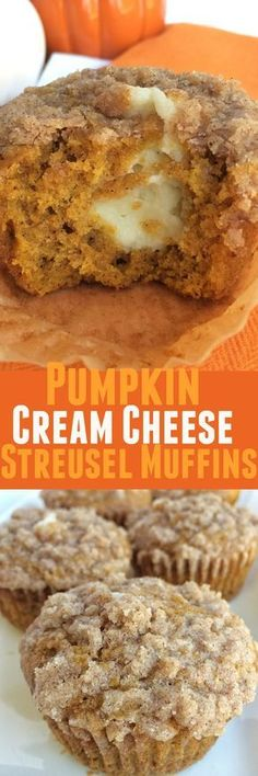 Pumpkin muffins with a sweet cheesecake center and topped with cinnamon streusel. These pumpkin cream cheese streusel muffins are the best. Fall Desserts, Just Desserts, Delicious Desserts, Yummy Food, Fall Dessert Recipes, Pumpkin Recipes, Fall Recipes, Holiday Recipes, Summer Recipes