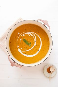Cozy Pumpkin Lentil Soup (vegan, gluten free, wfpb)   Veggiekins Blog Coconut Lentil Soup, Vegan Lentil Soup, Vegan Soups, Pumpkin Puree, Vegetarian Recipes, Healthy Recipes, Healthy Food, Vegan Food, Kitchens