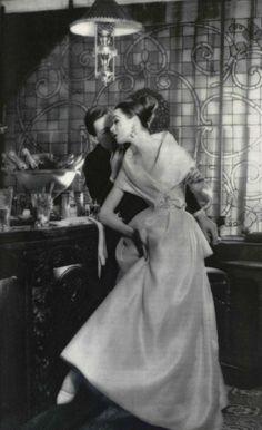 1957 Christian Dior satin organza dress