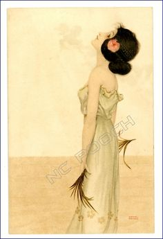 Raphael Kirchner vintage postcard pretty women flowers in hair holds feathers