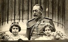King George V with his granddaughters, Princess Elizabeth and Princess Margaret