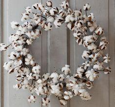 Cotton Wreath   Raw Cotton Wreath   Front Door Wreaths For Spring Antique Farm House