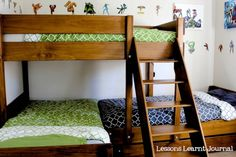 Great for my Grand kids' room. Do your kids share a room? Here's a bedroom for three kids, with a triple bunk. Neat way to work with a small space. Bunk Beds Small Room, Beds For Small Spaces, Bunk Rooms, Bunk Beds With Stairs, Kids Bunk Beds, Small Rooms, Bedrooms, Triple Bunk Beds, Triple Bed