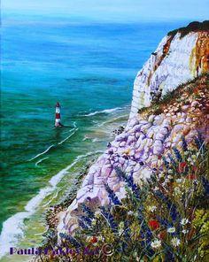 """Wild flowers at Beachy Head"" Acrylic painting ORIGINAL ART by Paula Oakley"