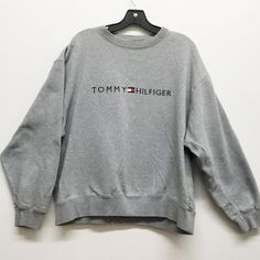 Classic Tommy Hilfiger Crew Neck  Grey with Tommy Hilfiger logo and flag