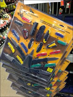 Think big with your Shelf Edge Strip Merchandisers. Here they hawk oversize, extensive 25 piece Appalachain Trail Knife Collections … all… Cutlery, Close Up, Knives, Retail, Yellow, Color, Colour, Knifes, Shun Cutlery