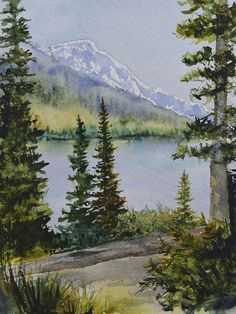 Original watercolor on the trail around Jenny Lake in the Grand Tetons on a beautiful June day. Watercolor Paintings Nature, Watercolor Paintings For Beginners, Watercolor Trees, Watercolor Background, Abstract Watercolor, Watercolor Illustration, Simple Watercolor, Tattoo Watercolor, Watercolor Animals