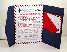 Travel Theme Pocketfold Wedding Invitations - Red And Navy colors with postal stripes and airplane