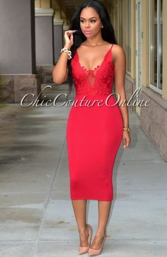 Chic Couture Online - Remy Wine Red Lace Top Midi Dress, (http://www.chiccoutureonline.com/remy-wine-red-lace-top-midi-dress/)