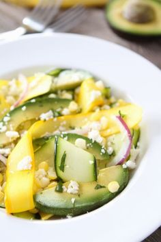 Zucchini Ribbon Salad with Sweet Corn & Avocado | www.twopeasandtheirpod.com
