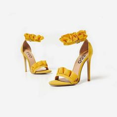 Florence Frill Detail Heel In Yellow Faux Suede. Available in sizes UK 3-8