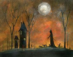 witch Folk Art painting   Original OOAK Painting Cat Witch Gothic Halloween Prinitive Folk Art ...