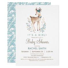 Woodland Deer Baby Shower Invitation
