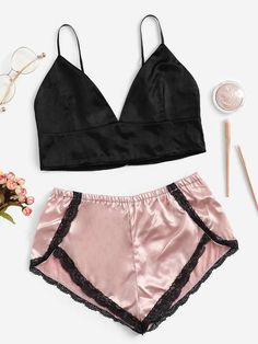 Women Spring Lace Trim Satin Bralette With Shorts Sexy Lingerie Sets 2019 Summer Cute Lingerie, Satin Lingerie, Lingerie Outfits, Lingerie Sleepwear, Women Lingerie, Lingerie Sets, Underwear Sets, Vintage Lingerie, Nightwear