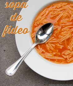 Sopa de fideo #recipe from theothersideofthetortilla.com. This tomato-based broth soup with noodles is great for rainy days, tummyaches and whatever ails you.