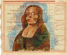 Mona Lisa de Madera pintada en un bono del Canal de Panamá por Hugo Sbernini