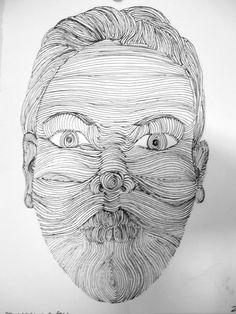 2007 Pen Cross Contour of a face Cross Contour Face Cross Contour Line Drawing, Contour Drawings, Ink Drawings, Contour Face, Face Contouring, Drawing Skills, Life Drawing, Drawing Art, Facial