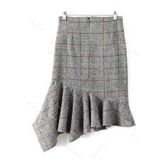 Plaid Tweed Mermaid Skirt ($31) ❤ liked on Polyvore featuring skirts, zaful, tartan plaid skirt, tweed skirt, plaid skirt, mermaid skirts and tartan skirt