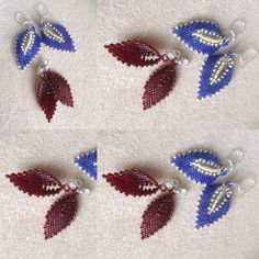 I made... Another set of Russian leaf earrings. Chestnut brown delicas and seed beads size 11.