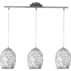 Searchlight 8069-3WH Crackle 3 Light Ceiling Pendant Polished Chrome