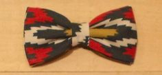 Men's/Boy's Dark Green, Red and Beige Aztec Print Clip On Bow Tie by fancyfreeboutique on Etsy