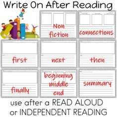 Write On After Reading A variety of activities to use after a READ ALOUD or independent reading Perfect addition to your reading and writing stationsEngage your students in meaningful writing activitiesCHALLENGE STUDENTS TO RESPOND TO THEIR READING Reduce your planning and prep timeTemplates to sup... Common Core Activities, Writing Activities, Teaching Reading, Learning, Writing Station, Independent Reading, First Grade Teachers, Reading Worksheets, Activity Centers