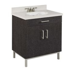 Bradstreet 30-in x 21-in Driftwood Undermount Single Sink Bathroom Vanity with Cultured Marble Top - Lowes