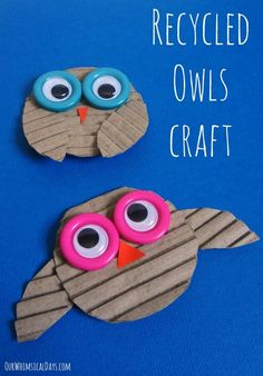 Adorable recycled owl craft using corrugated cardboard - so cute for something so easy!
