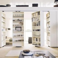 moving bookshelf / room divider. Cool!