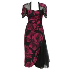 40s Hibiscus Print Cocktail Dress w/ Tulle Swag and Capelet   1stdibs.com