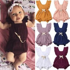 Cute baby girls ruffle rompers perfect for summer season. It is both stylish and healthy which is made of 100% cotton. It is made of high quality material, soft hand feeling. Perfect as a baby shower gift. Suitable for baby girls up to 24 months old. Color Options: Orange, Pink, Purple, Navy, Red, White available. Package includes: 1 romper Baby Girls, Baby Girl Romper, Cute Baby Girl, Baby Girl Newborn, Cute Babies, Kids Girls, Toddler Girl, Dress Girl, Jumpsuit Outfit Casual