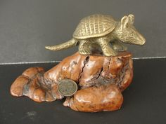 Vintage John Perry Brass Armadillo on Burl by marketsquareus