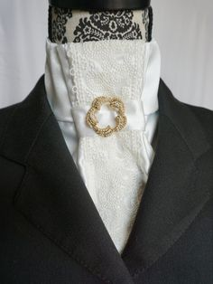 Ever Elegant Laced Show White Stock Tie by Equestrian Lounge