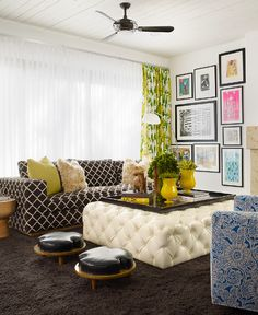 No matter how many tufted ottomans I see like this, I will pin every one :-). Love them!    Design firm Pal + Smith, owned by Melissa & Marc Palazzo, a design duo with a great eye for bold color & patterns. Via Made by Girl.