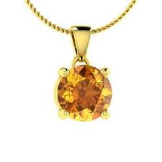 Reveka, Round Citrine Necklace in 14k Yellow Gold