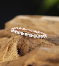 Moissanite wedding band vintage rose gold wedding band women full eternity diamond ring stacking dainty bridal matching promise gift for her wedding bands female engagement rings super ideas wedding Diamond Stacking Rings, Eternity Ring Diamond, Halo Diamond Engagement Ring, Diamond Bands, Vintage Engagement Rings, Gold Bands, Diamond Wedding Bands, Wedding Rings, Gold Wedding