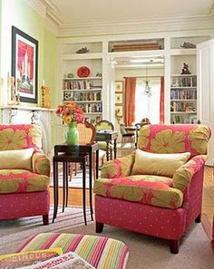 pink arm chairs - love green and pink together